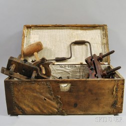 Group of Woodworking Tools Including Planes, Clasps, and Drills.     Estimate $200-400