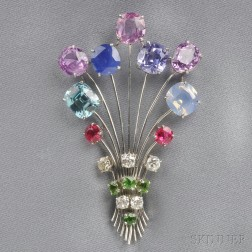 Platinum Gem-set Brooch