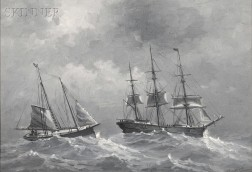 Thomas Clarkson Oliver, called Clark Oliver (American, 1827-1893)      Two Ships in a Storm