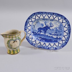 Polychrome Prattware Jug and an Enoch Wood & Sons Transfer-decorated Platter