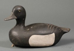 Carved and Painted Bluebill Duck Decoy