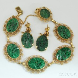 14kt Gold and Carved Jade Bracelet and Earrings