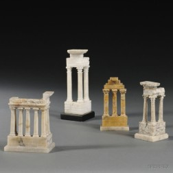 Four Grand Tour Stone Models of Temples in the Roman Forum