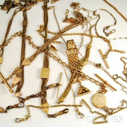 Group of Gold-plated Watch Fobs and Accessories