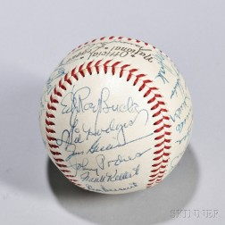 Early 1950s Brooklyn Dodgers Team-signed Baseball, with signatures of Jackie Robinson, Duke Snider, Pee Wee Reese, Roy Campanella, and
