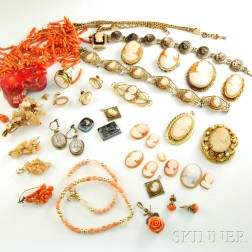 Group of Cameo and Coral Jewelry