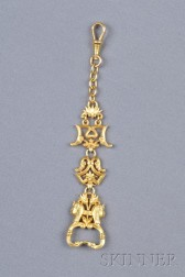 Egyptian Revival 18kt Gold Fob Chain, France
