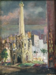 Hugo Pieper (American, 20th Century)      Cityscape/A Double-sided Composition.