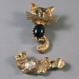 Two Gold Animal Brooches