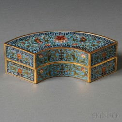 Fan-shaped Cloisonne Covered Box