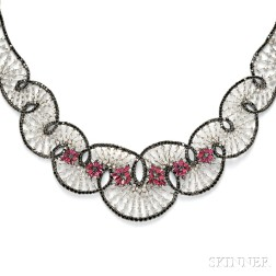 "Black Diamond, Diamond, and Ruby ""Boudoir"" Macrame Necklace, Stefan Hafner"