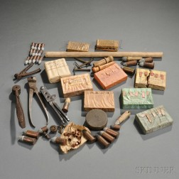 Group of Civil War Artillery Fuses, Bullet Molds, and Cartridges