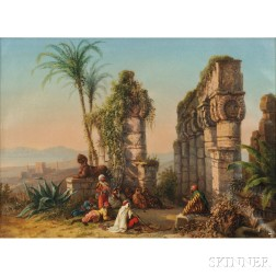Attributed to Jacob Alt (German, 1789-1872)      Orientalist Scene with Figures and Egyptian Ruins
