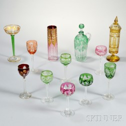 Twelve Pieces of Colored Cut Glass