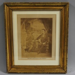 """Framed Photograph """"President Lincoln and His Son Thaddeus,"""""""