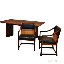 Mid-century Teak Dining Table and Two Chairs