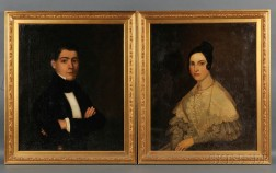 American School, 19th Century      Pair of Portraits of Albert and Mary (Oldrin) Salter of New York City.