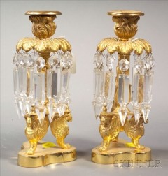 Pair of Empire-style Bronze Single Light Lustres
