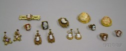 Group of Victorian Gold and Costume Cameo Jewelry