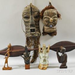 Seven Carved Wood Items