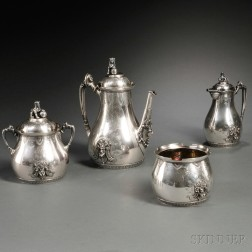Four-piece American Egyptian Revival Sterling Silver Tea Service