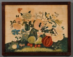 American School, Reportedly from Maine, 19th Century      A Theorem of Flowers, Fruit, and a Moth.