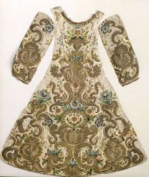 Baroque-style Silk and Metallic Embroidered Statuary Dress