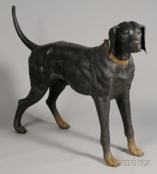 Large Patinated Metal Figure of a Standing Labrador