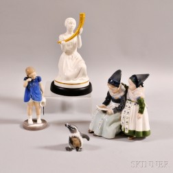Two Royal Copenhagen Porcelain Figures and Two Other Danish Figures.     Estimate $250-350