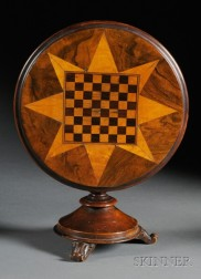 Miniature Parquetry Inlaid Tilt-top Game Table