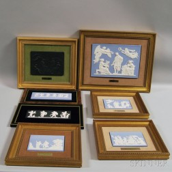 Seven Framed and Mounted Jasper and Basalt Plaques