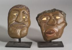 Two Polychrome Painted David Marshall Stone Carvings