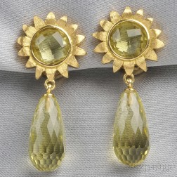 18kt Gold and Lemon Quartz Earpendants, Robert Bruce Bielka