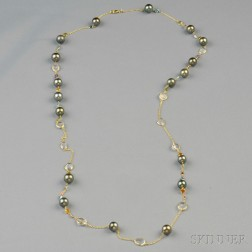 18kt Gold, Tahitian Pearl, and Gem-set Necklace
