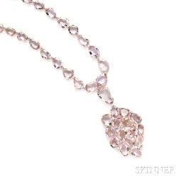 18kt Rose Gold, Amethyst, and Diamond Pendant Necklace