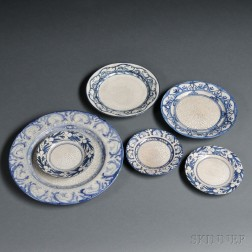 Five Dedham Plates and a Chelsea Pottery U.S. Plate