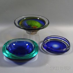 Three Colored Art Glass Bowls