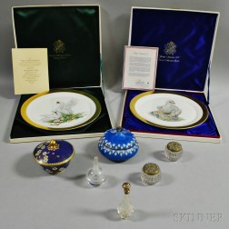 Two Boehm Bird Chargers, Two Cloisonne Boxes, and Four Glass Vanity Items