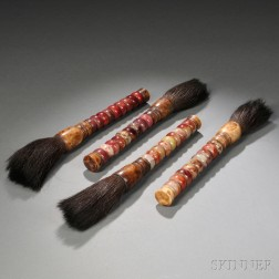 Four Ink Brushes with Hardstone Handles