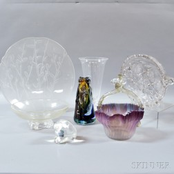 Three Steuben Colorless Glass Items and Four Others