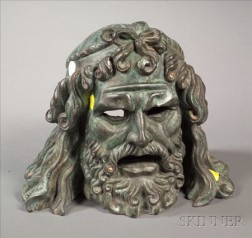 Cast Bronze Head of a Classical God, after the Antique