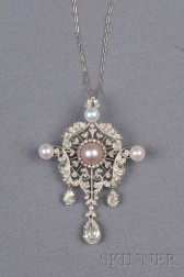 Edwardian Platinum, Colored Pearl, Pearl, and Diamond Pendant/Brooch