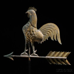 Gilt Copper Rooster Weathervane