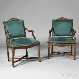 Two Upholstered Shell-carved Open Armchairs
