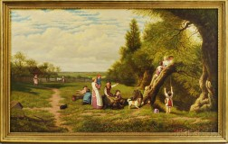 Anglo/American School, 19th Century       Landscape with Children at Play.