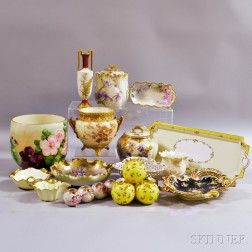 Fifteen Pieces of Mostly Continental Hand-painted Porcelain.     Estimate $200-300