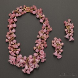 Miriam Haskell Pink Glass and Crystal Festoon Necklace and Earrings
