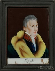 """Framed Reverse-painted Glass Tablet Depicting """"Lafayette,"""""""