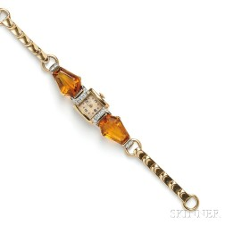 Retro 14kt Gold and Citrine Watch, Retailed by Cartier