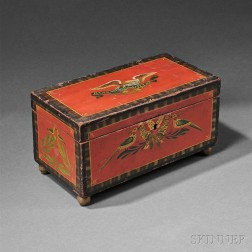 Paint-decorated and Parcel-gilt Pine Box